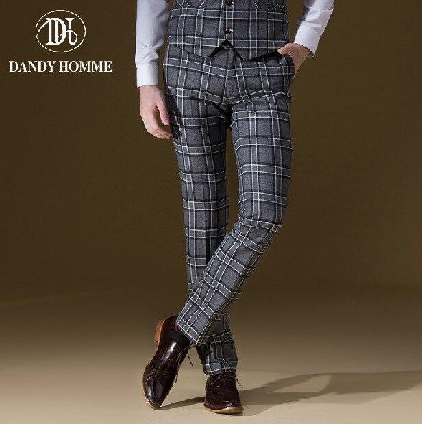 Dandy Homme High Quality 2015 Men Autumn Winter Warm Slim Grey Big Plaid Casual Business Wedding Groom Suits Long Pants Fashion
