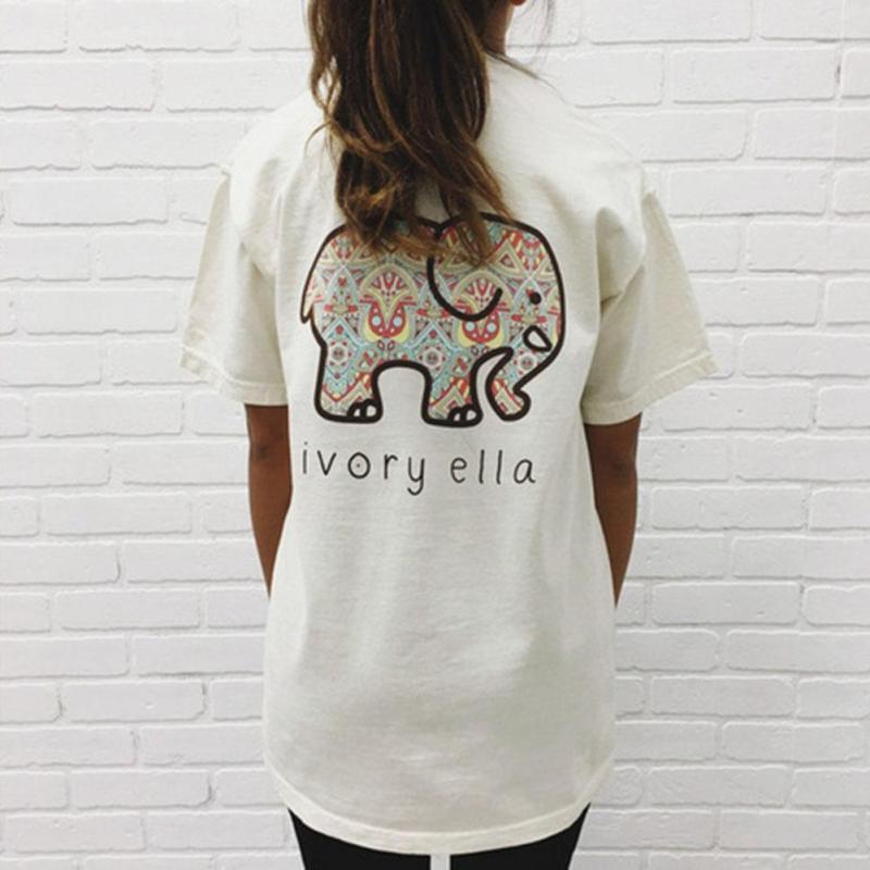 13fb1da730ac Women Summer Ivory Ella Fashion Animal Elephant Print T Shirt T ...