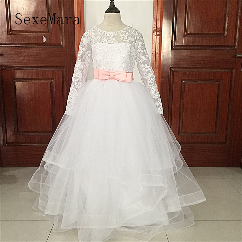 Real Picture Communion Dresses Long Sleeves Lace Back Button Solid O-neck Flower Girl Dresses Vestido De Daminha New Arrival laconic lapel multi button patch pocket back slit long sleeves men s slimming blazer