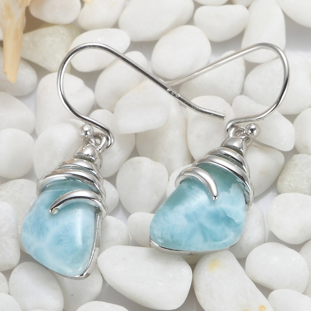 925 sterling silver Larimar Earrings Recommend SS--3804 Christmas gift for women First class products Explosion models Favourite