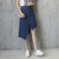 2017 Denim Skirt Saia For Women Faldas Midi Jeans Skirt Students Girls High Waist Split Slim