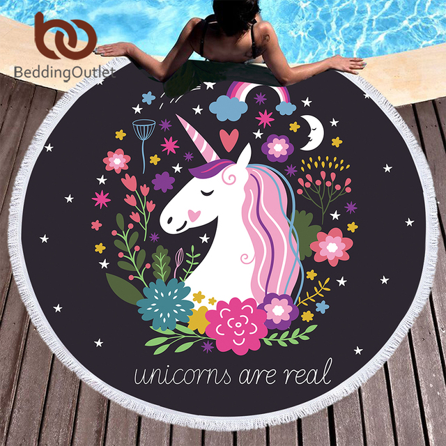 BeddingOutlet Cartoon Round Beach Towel Unicorn Tassel Tapestry Floral Toalla Sunblock Cover-Up Blanket for Kids Adults Yoga Mat