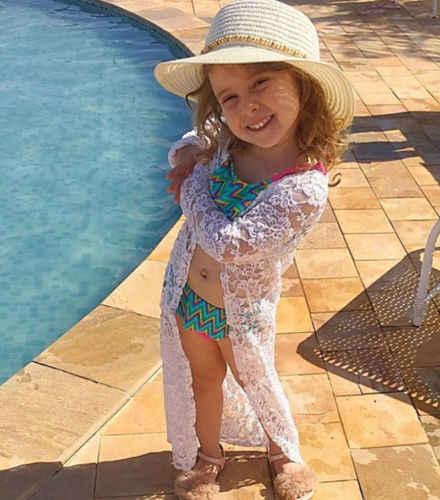 Balita Anak-anak Bayi Perempuan Renda Tabir Surya Mantel Panjang Lengan Berongga Out Putih Pantai Gaun Rashguard Jaket Panjang Pakaian Luar