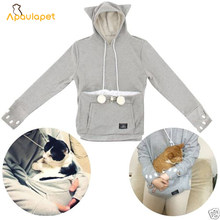 Cat Lovers Hoodies With Cuddle Pouch Mewgaroo Nyangaroo Dog Pet Hoodies For Casual Kangaroo Pullovers With Ears Sweatshirt 4XL(China)