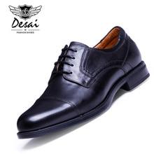 DESAI Marca 2017 Italia Diseño Vintage Para Hombre Oxford Zapatos Formales Del Banquete de Boda de Lujo Real de Cuero Genuino Hombres Zapatos de Tamaño 38-43