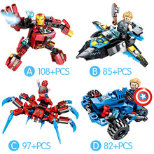 Legoings Marvel Super Heroes Infinity War Iron Man Spiderman Avengers Thor Mech Building Blocks Toys цена