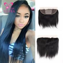 Cheap 7A Mocha Hair Products Straight Virgin Brazilian Lace Frontal Closure 13*4 100Human Hair Ear To Ear Closure Bleached Knots