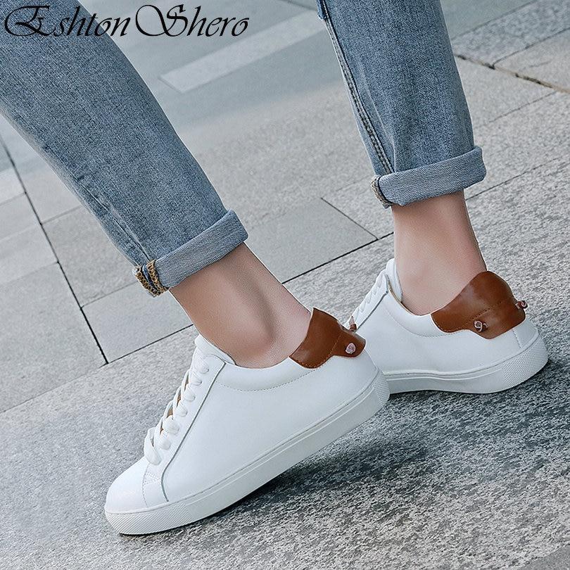 EshtonShero Spring Women's Flats Shoes Woman Leather+PU Flat Heel Lace Up Round Toe White Elegant Ladies Loafers Shoes Size 3-9