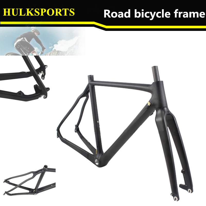 HK-CX027-D New hot sale cyclocross  bike frame   custom Toray T700 super light  disc brake full carbon frame +  fork full internal cable routing cyclocross frame disc brake full carbon cyclocross bike frame