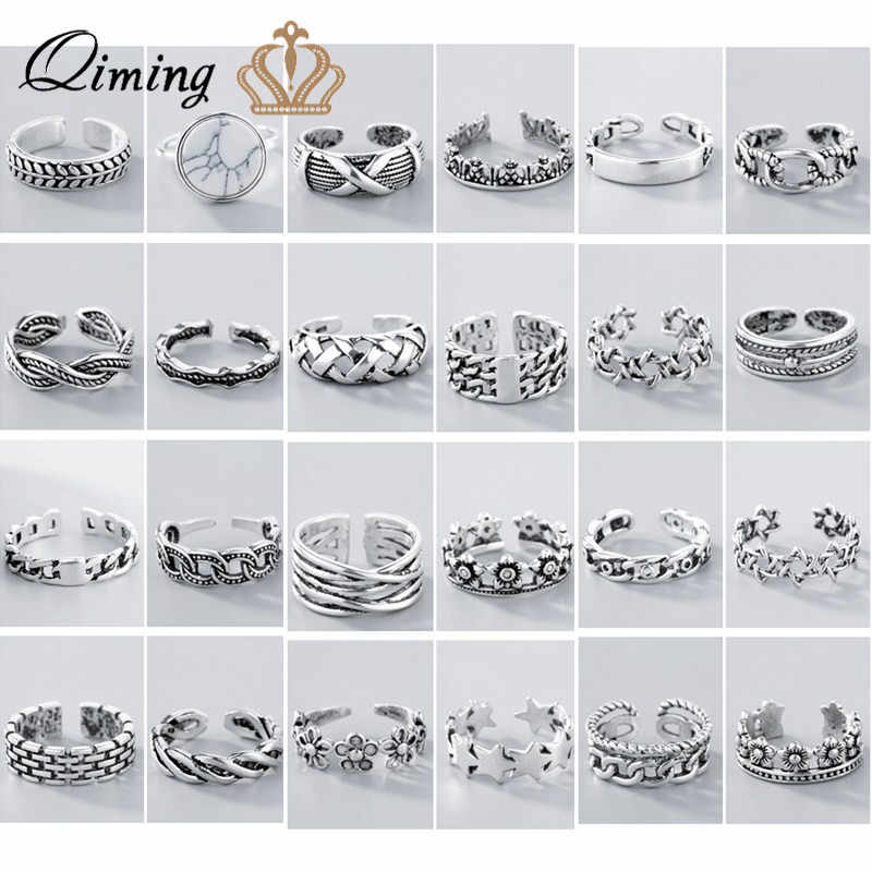 Bohemia Twist Flower Geometric Ring Sets Leaf Silver Knuckle Toe Finger Ring Women Thai Silver Vintage Retro Jewelry Bague