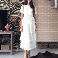 RUGOD 2018 Fashion T shirt Patchwork Style Cake Dress Women Slim Feather Tassel Dress White Black Long Party Dresses Vestidos