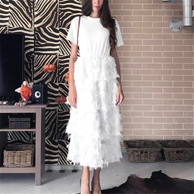 RUGOD 2019 ファッション Tシャツパッチワークスタイルケーキドレス女性スリム羽の房のドレス白黒ロングパーティードレス Vestidos