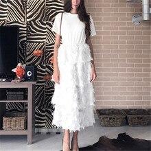 RUGOD 2019 موضة تي شيرت المرقعة نمط كعكة فستان المرأة ضئيلة ريشة شرابة فستان أبيض أسود طويل فساتين الحفلات Vestidos