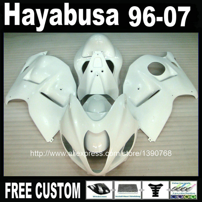 plastic fairing kit for hayabusa suzuki GSXR1300 96-07 all glossy white custom fairings set GSX1300R 1996-2007 FB40