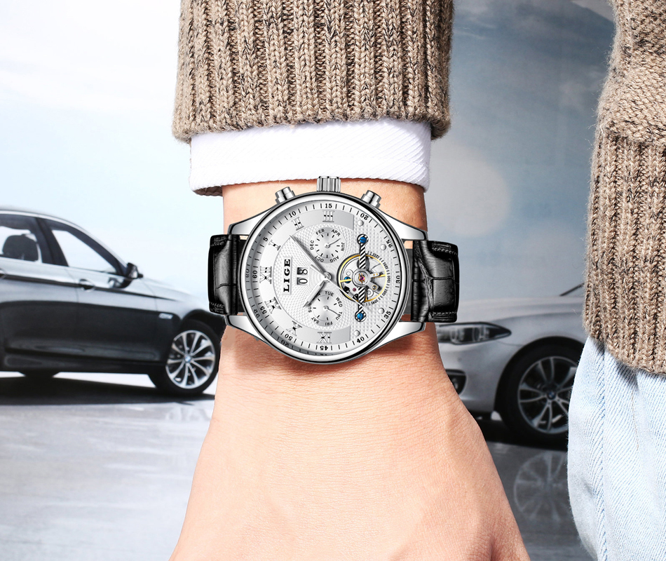 Lige relógios masculinos máquinas automáticas negócios relógios