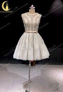 Image 2 - הריין אמיתי תמונות גריי חרוזים קריסטל סקסי סירת צוואר אופנה מפלגת שמלות שמלות נשף 2019