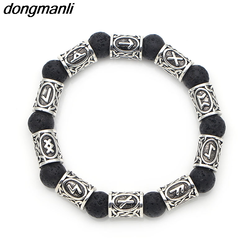 P658 dongmanli Vintage 10mm Lava stone Antique Silver Beads Viking rune Alloy Norse jewelry Men's bracelet For women Men vintage alloy engraved beads anklet for women