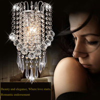 Arte moderna Decoração de Aço Inoxidável Chapeamento de Cristal LEVOU Quarto Luz Da Lâmpada de Parede Arandela Iluminação Casa Frete Grátis