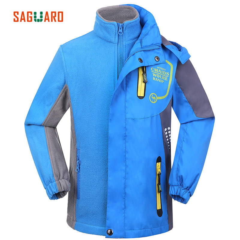 SAGUARO Kids Winter Outerwear Outdoor Skiing Windproof Waterproof Double-deck Thicken Warm Jacket Parka Child Windbreaker Jacket