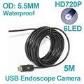 Новое Прибытие Мини 5.5 мм OD Объектив USB Эндоскоп Водонепроницаемая Камера Эндоскоп 6LED 5 М Гибкая Змея USB Бороскоп Insepction камера