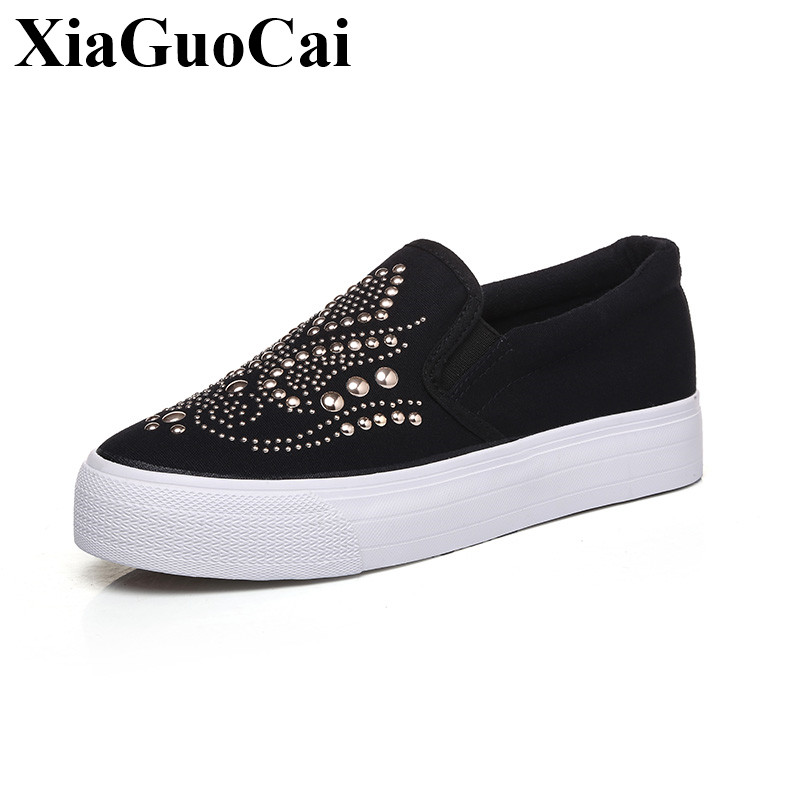Canvas Shoes Women Platform Slip-on Casual Shoes Fashion Rivet Women Flats Loafers Breathable Comfortable Zapatos Mujer H444 35 7ipupas hot selling fashion women shoes women casual shoes comfortable damping eva soles flat platform shoe for all season flats
