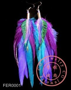 Free Shipping!! 10pcs/lot, Multicolor POP Celebs Feather Earrings In Blue Purple Green Tone