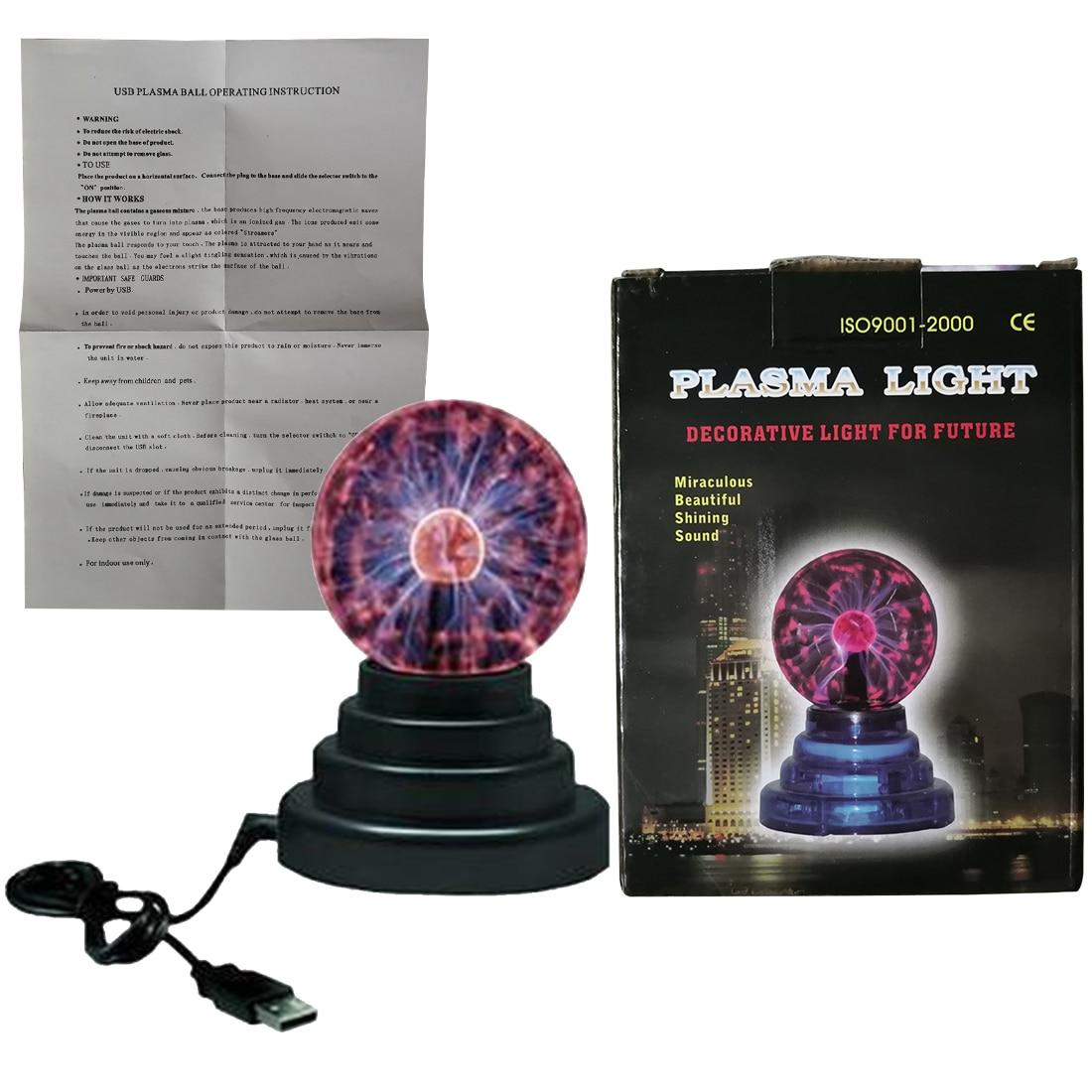 3 inch Novelty Table Lamp Party Decor Lighting Electric Lightning Ball Crystal Plasma Ball Flash Magic Glass Sphere Light ac powered plasma ball red light lightning sphere 220v eu plug