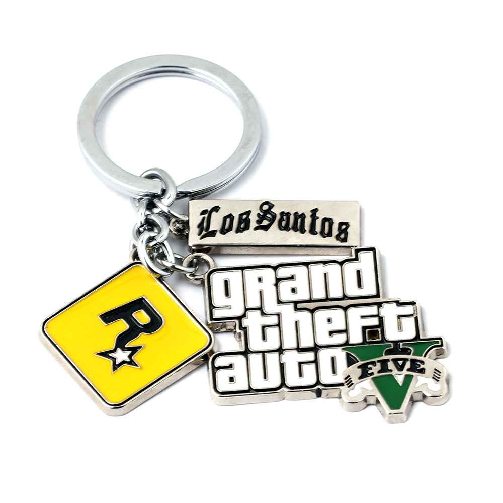 Hot Game PS4 GTA 5 Grand Theft Auto Keychain Key Chain For Fans Xbox PC Rockstar Key Ring Holder 4.5cm Jewelry Llaveros Jewellry
