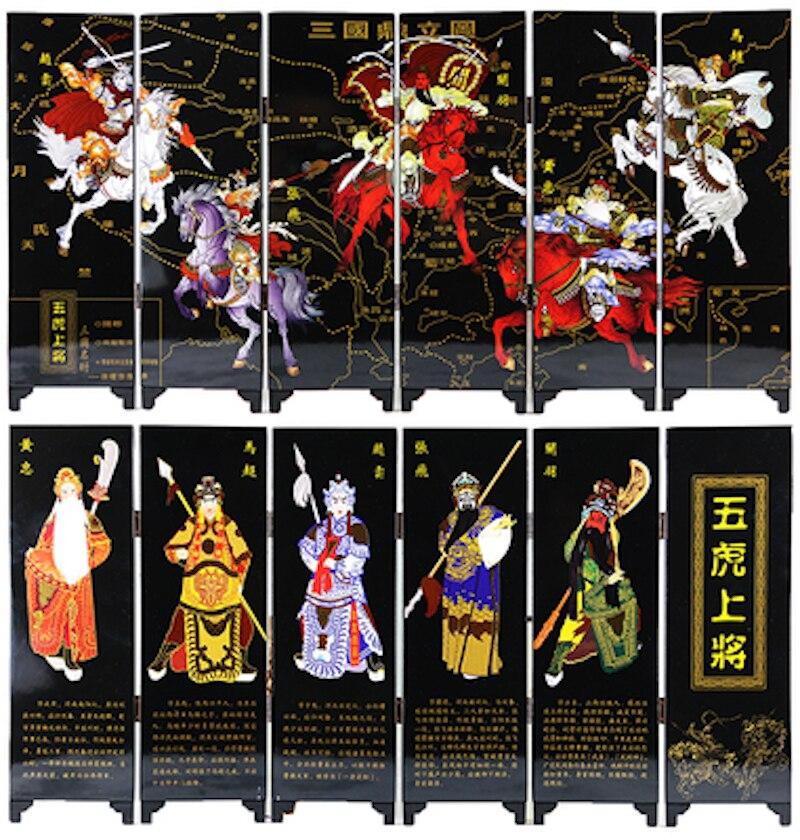 MINI paravent paravent 6 panneaux joints peinture décorative bois Byobu Tradition chinoise Figure Romance des trois royaume