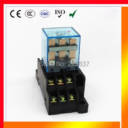 LY3 (3 Pcs/Lot) JQX-13F HH63P 220vac relay 24v 12v 36v AC/DC 10A silver contact dpdt electric relay w/ socket base free shipping 10pcs 24v dc coil power relay dpdt ly2nj hh62p l jqx 13f