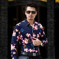 CE02- L-6XL 7XL Men Shirts Long Sleeve 2017 Mens Floral Shirts Hawaiian Shirt Men Shirt Dress Camisas Para Hombre