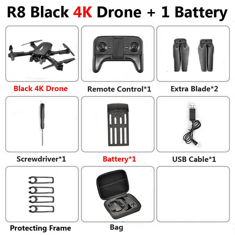 R8 1808 Drone with Dual Camera 1080P 4K PX1600W HD WiFi FPV Optical Flow Automatic Beauty RC Quadcopter Helicopter XS816 SG106