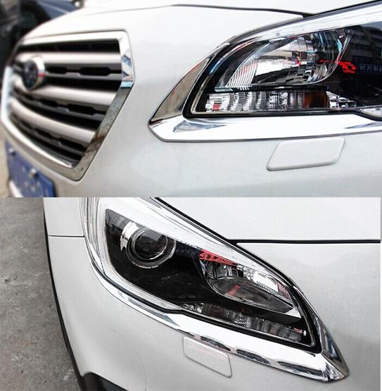 Accessories Fit For 2017 2016 Subaru Outback Chrome Headlight Eyelid Cover Trim Molding Eyebrow Garnish