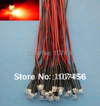Free shipping 100pcs Flat Top Red LED Lamp Light Set Pre-Wired 5mm 24V DC Wired