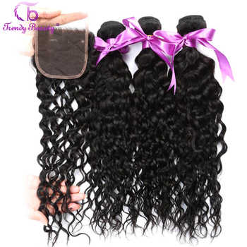 Trendy Beauty Brazilian Water Wave 3 bundles With 4*4 Lace Closure 4 Pcs/lot Human Hair Bundles With Closure Non-remy Free Ship