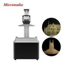 2017 micromake новый l1 sla принтер высокая точность фотоотверждаемых 3d принтер воск/литье/уф смолы жк свет принтера