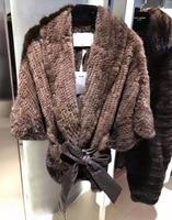 Высокое качество 100% й мех норки пальто, удивительный мех переплетения зимнее пальто, Модная парка из натурального меха зимняя куртка для же