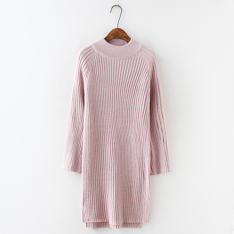 H.SA Women Long MAXI Sweater Dresses 2018 Candy Color Below Knee Knit Jumpers Winter Dress Pull Sweater Pink Winter Jumpers Pull