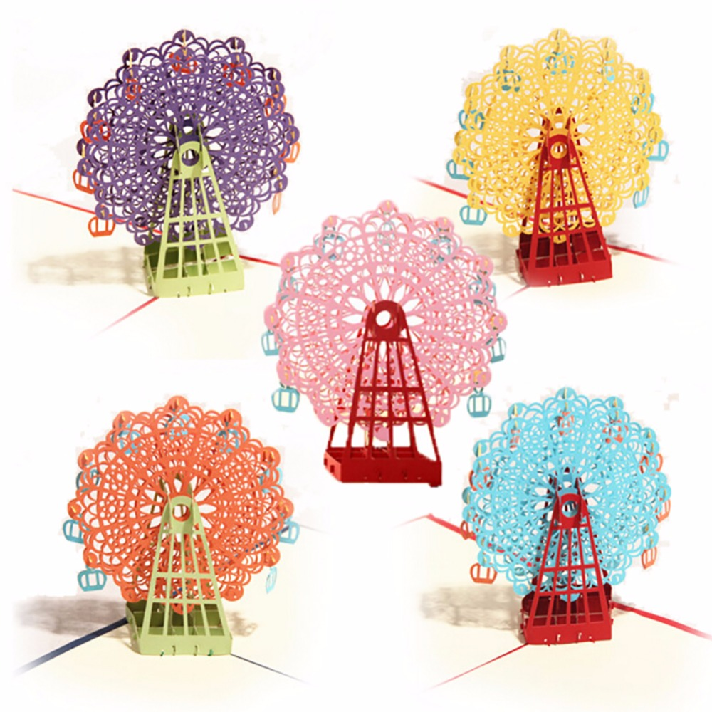 3D Happy Ferris Wheel Christmas Cards Greeting DIY Paper Card Personalized Keepsakes Postcards For Wedding Birthday Invitat OB