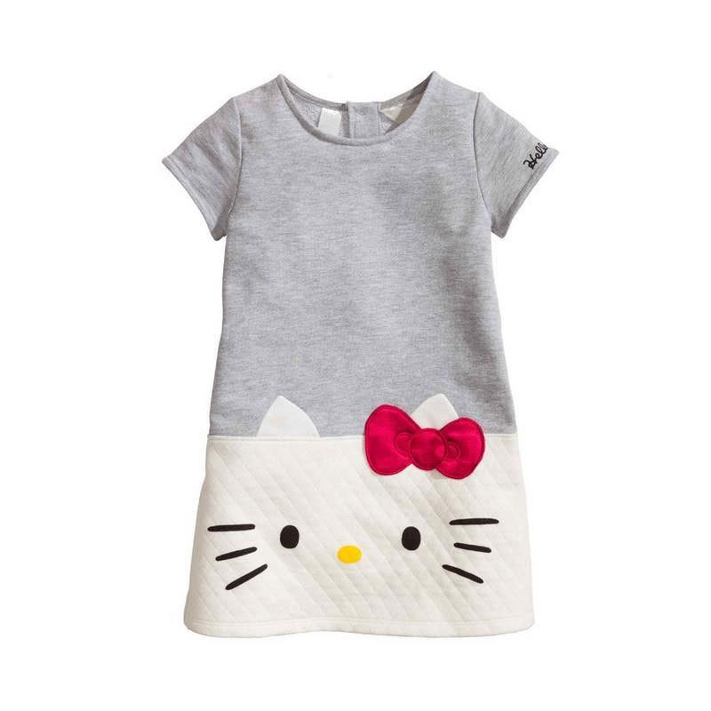 Fashion cartoon Hello Kitty Baby Girls Summer Dresses 2017 Brand Children Dresses For Girl Princess Dress Christmas Kids Clothes