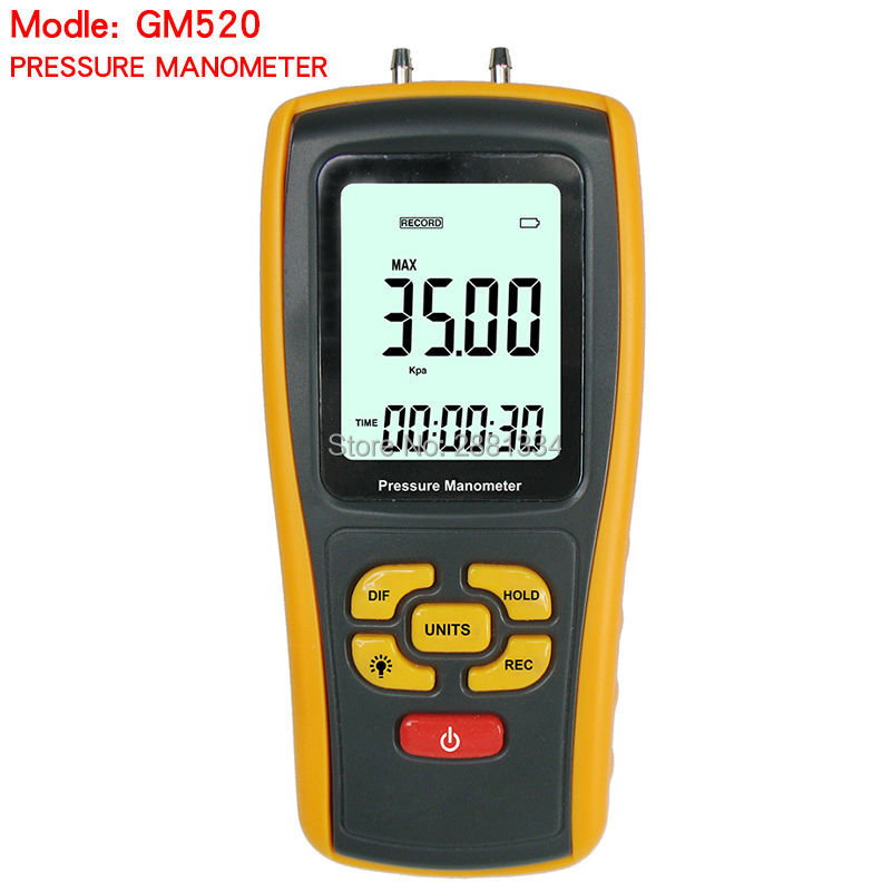 GM520 Portable USB Digital LCD Pressure Manometer Gauge Measuring Range 35kPa with Temperature Compensation