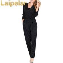 Elegant Jumpsuits For Women 2018 New Arrivals Autumn Winter Casual Bodysuit V-neck Belt Long Rompers Black Pocket Slim Playsuit
