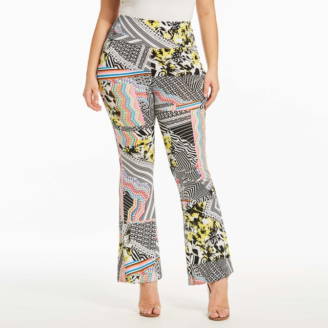 Плюс Размеры тонкий Для женщин расклешенные брюки принт Лето Высокая Талия клеш Женская мода современный элегантный Цвет блока с длинным Flare Pant