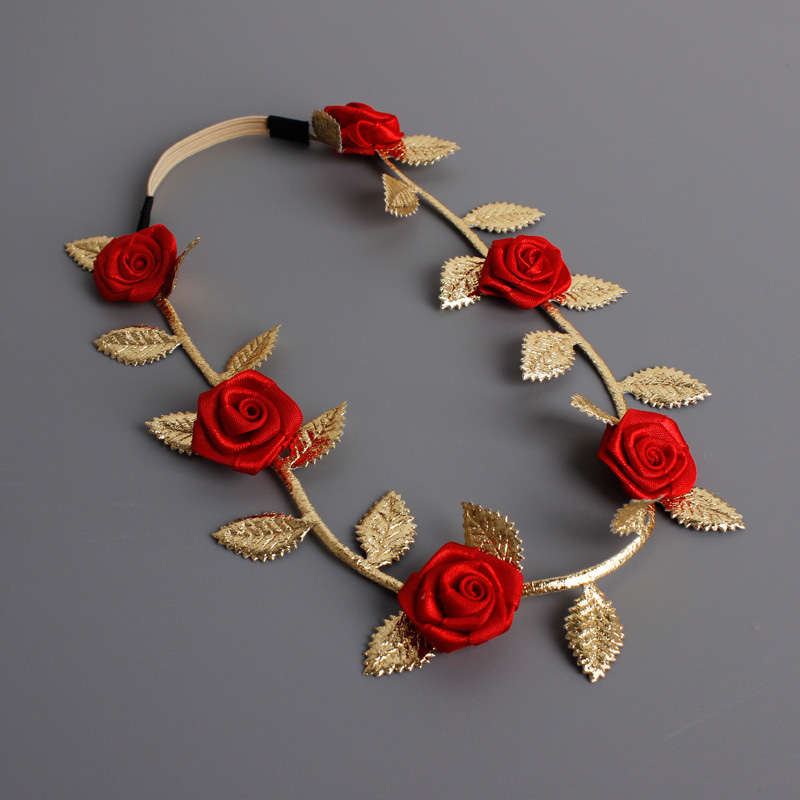 #GA008 High Quality Rose Flowers Headband Elastic Bands For Hair Red Purple Gold Flowers Bandage/ Headbands Hair Ornament