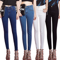 2016 Summer new Korean high waist Fashion women Brand Jeans were thin Nine pants Light Button Fly High Cuffs Stripe Pencil Pants
