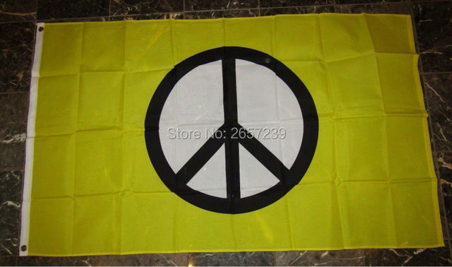 Peace Symbol yellow Flag 3x5FT banner 100D 150X90CM Polyester brass grommets custom66,free shipping