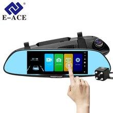 E-ACE A01 Auto Dvr 7.0 Pollici Touch Dash Cam FHD 1080 P Video Recorder Specchio Retrovisore Dvr Con Videocamera vista posteriore Auto registrator