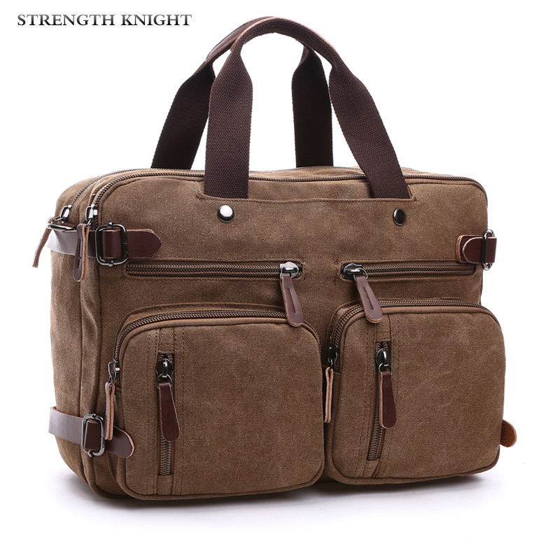 Retro Men Canvas Bag Leather Briefcase Travel Suitcase Messenger Shoulder Tote Back Handbag Large Casual Business Laptop Pocket