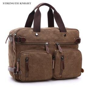 Image 1 - Retro Men Canvas Bag Leather Briefcase Travel Suitcase Messenger Shoulder Tote Back Handbag Large Casual Business Laptop Pocket