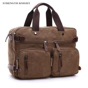 Image 1 - Retro erkek kanvas çanta deri evrak çantası seyahat bavul Messenger kol çantası arka çanta büyük rahat iş dizüstü cep